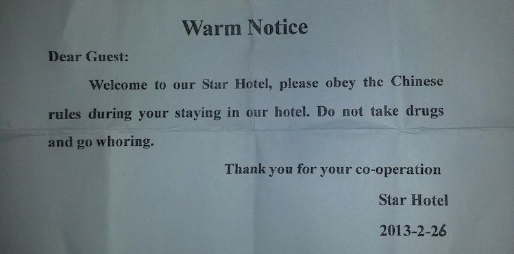 'Do not take drugs and go whoring' Chinese hotel warns guests