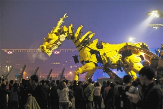 France gives China 12m-high fire-breathing dragon robot to celebrate anniversary of diplomatic ties