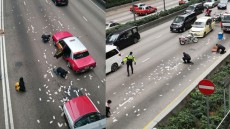 WATCH: Humanity's true face revealed after millions of dollars pour onto Hong Kong road
