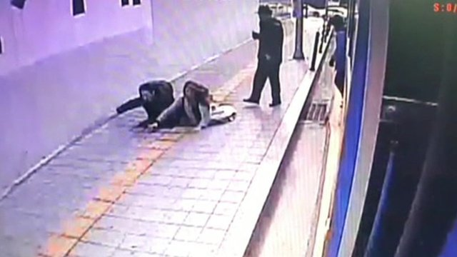 WATCH: Sidewalk sinkhole swallows pedestrians in Seoul