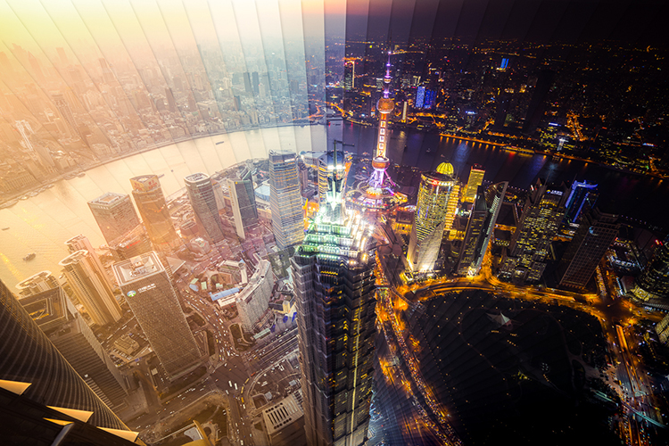 Amazing photos show Shanghai and Hong Kong change from day to night