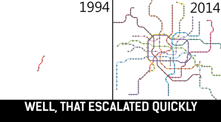 Shanghai's 20 Years of Insane Subway Expansion, in One GIF
