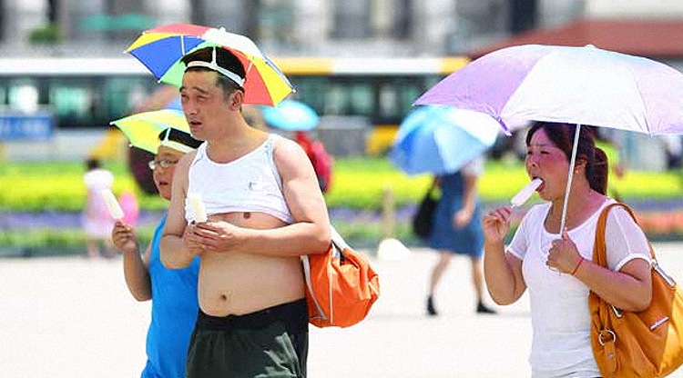 Scorched earth: Temperatures above 40 C (104 F) in northern China