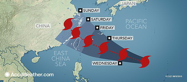 Super Typhoon Soudelor heading for China this weekend