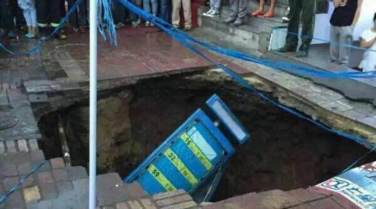 VIDEO: Sinkhole swallows four people waiting for a bus in Harbin